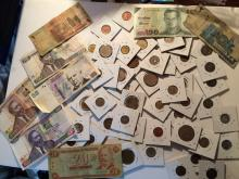 Foreign Coins and Currency (bank notes) many countries represented in lot