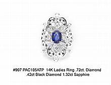 14K Ladies Ring .72ct Dia .42ct Blk. Dia. 1.32ct. Sapphire