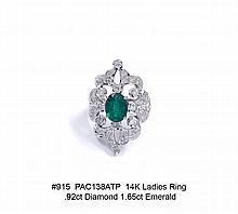 14K Ladies Ring .92ct. Diamond 1.65ct Emerald