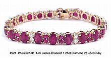 14K Ladies Bracelet 1.25ct. Diamond 23.48ct Ruby