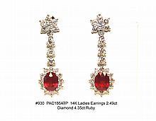 14K Ladies Earrings 2.49ct Diamond 4.35ct Ruby