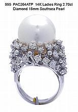 14K Ladies Ring 2.70ct Diamond 16mm Southsea Pearl