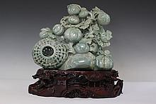 Jadeite Carving of Fruit Basket with GIA Certificate