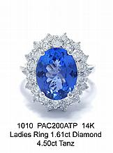 14K Ladies Ring 1.61ct Diamond 4.50ct Tanz