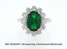 14K Ladies Ring 1.24ct Diamond 3.08ct Emerald