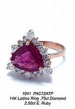 14K Ladies Ring .75ct Diamond 2.50ct E. Ruby