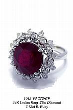14K Ladies Ring .75ct Diamond 6.78ct E. Ruby