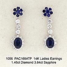 14K Ladies Earrings 1.46ct Diamond 3.84ct Sapphire