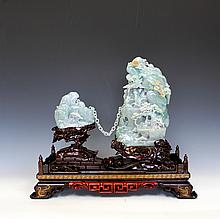 Jadeite Mountain Scenery Carving with GIA Certificate