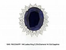 14K Ladies Ring 2.27ct Diamond 14.13ct Sapphire