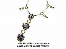 Ladies' Necklace  2.06ct. Diamond  32.78ct. Amethyst