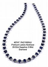 Platinum Ladies Necklace 28.52ct Sapphire 2.88ct Diamond