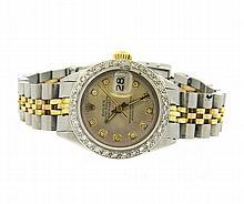 Rolex Datejust Diamond Dial Bezel Watch