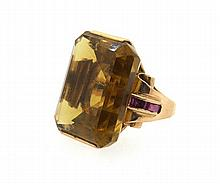 Retro 14k Gold Large Citrine Ruby Ring