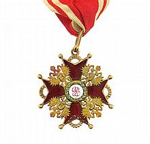 Imperial Russian Gold Enamel Order of St. Stanialaus Medal