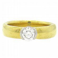 Tiffany & Co 18k Gold Platinum 0.87ct Diamond Engamement Ring