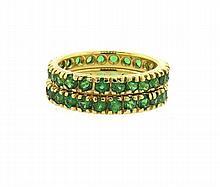 18k Gold Tsavorite Garnet Eternity Band Ring Set of 2