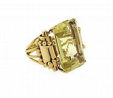 Retro 18k Gold Large Citrine Ring