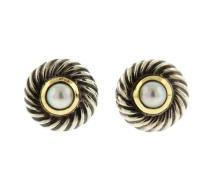 David Yurman 14K Gold Sterling Silver Pearl Cookie Earrings