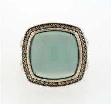 David Yurman Large Albion Chalcedony Diamond Sterling Ring