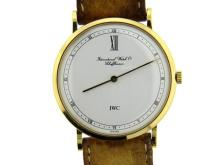 IWC 18K Gold Leather Strap Manual Wind Men's Watch
