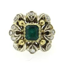 18K Gold Silver Diamond Emerald Cocktail Ring