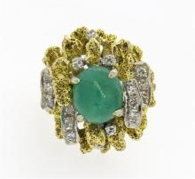 1970s 14K Two Tone Gold Emerald Cocktail Ring