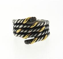 David Yurman 18k Gold Sterling Black Diamond Wrap Ring