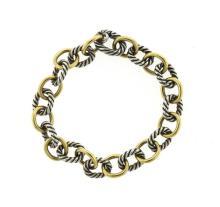 David Yurman 18k Gold Sterling Cable Link Bracelet