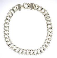 Large David Yurman Sterling Diamond Buckle Chain Necklace