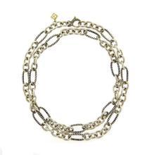 David Yurman Figaro 18K Gold Sterling Silver Link Chain Necklace