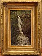 Aaron Draper Shattuck (1839-1928) Waterfall Cascading over Rocks,Oil on Board
