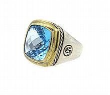 David Yurman Sterling 18k Gold Alblion Blue Topaz Ring