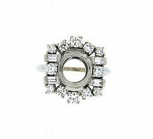 Platinum Diamond Ring Setting Mounting
