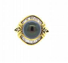 18k Gold Black Pearl Diamond Ring