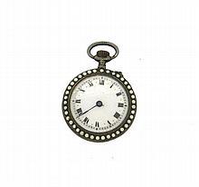 Antique Silver Enamel Seed Pearl Pocket Watch