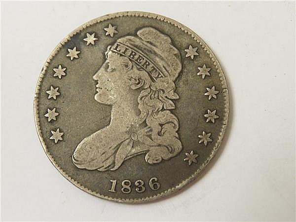 US 1836 Capped Bust Lettered Edge Silver Half Dollar Coin