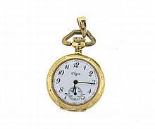 Antique Elgin 14k Gold Diamond Pocket Watch