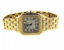 Cartier Mens Panthere 18k Gold Diamond Watch
