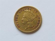 1854 Indian Princess 3 Dollars Gold US Coin
