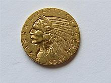 1909 D Indian Head 5 Dollars Half Eagle Gold Coin