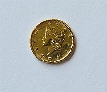 1852 Liberty Head 1 Dollar US Gold Coin
