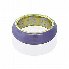 Asian 14k Gold Lavender Jade Band Ring