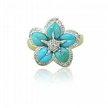 14k Gold Diamond Turquoise Flower Ring