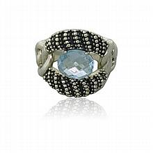 Michael Dawkins Sterling Blue Stone Ring