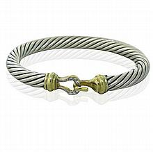 David Yurman Sterling 18k Gold Diamond Cable Bracelet