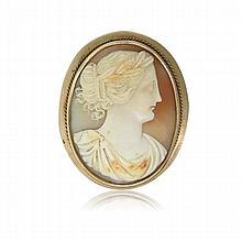 Antique 10k Gold Shell Cameo Brooch
