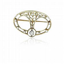 Antique 14k Gold Diamond Pearl Brooch