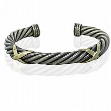 14k Gold Sterling X Cuff Bracelet
