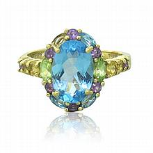10k Gold Multi Color Stone Ring